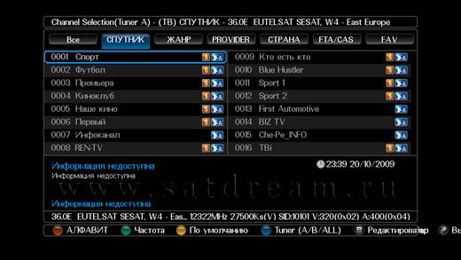 Список программ на EutelSat 36.0E